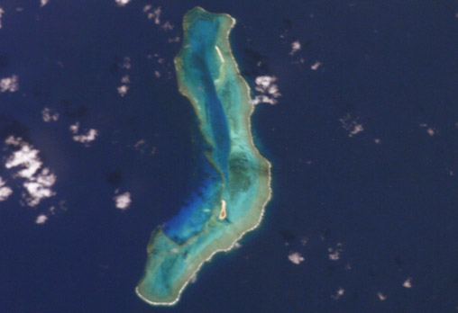 A satellite image of Mellish Reef.